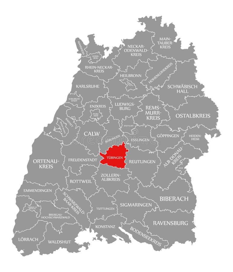 O vermelho do condado de Tuebingen destacou no mapa de Baden Wuerttemberg Germany ilustração stock