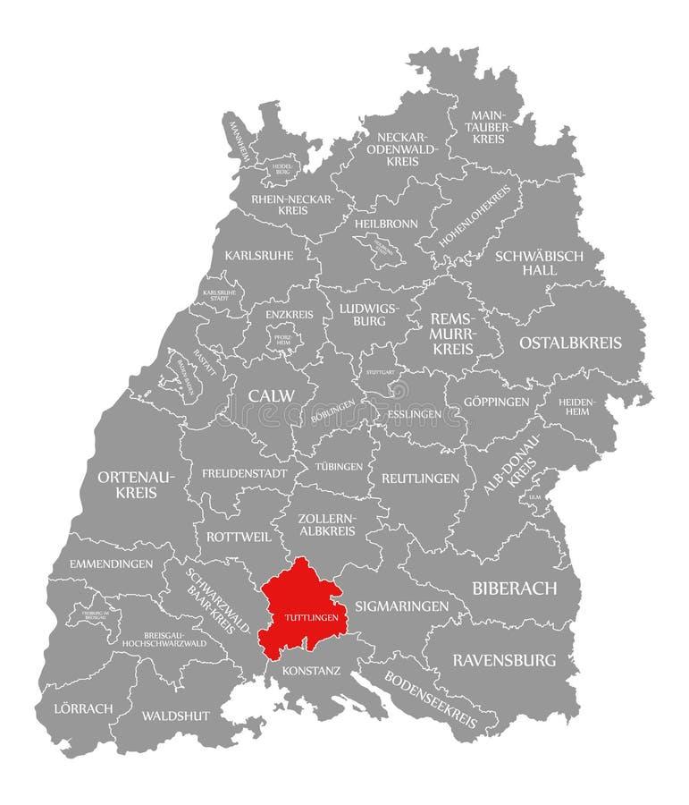 O vermelho do condado de Tuttlingen destacou no mapa de Baden Wuerttemberg Germany ilustração stock