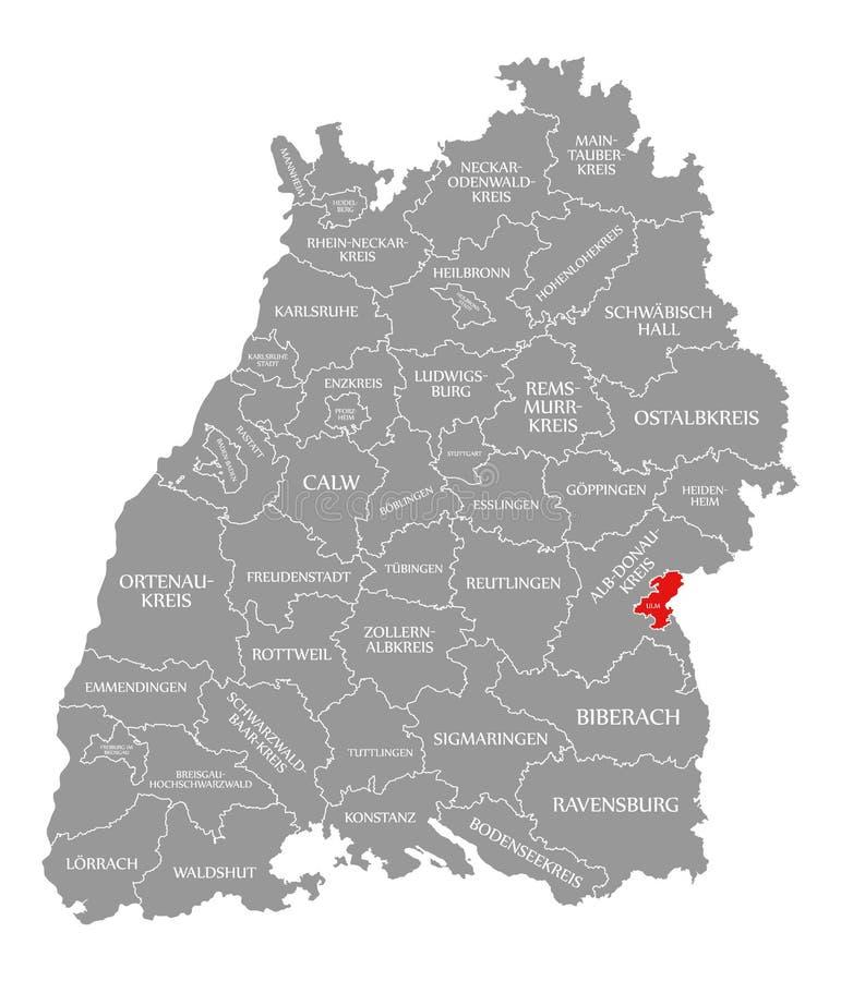 O vermelho do condado de Ulm destacou no mapa de Baden Wuerttemberg Germany ilustração royalty free