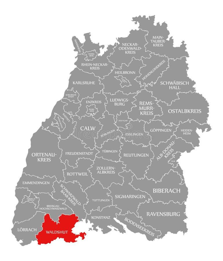 O vermelho do condado de Waldshut destacou no mapa de Baden Wuerttemberg Germany ilustração stock