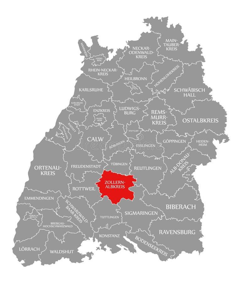 O vermelho do condado de Zollernalbkreis destacou no mapa de Baden Wuerttemberg Germany ilustração do vetor