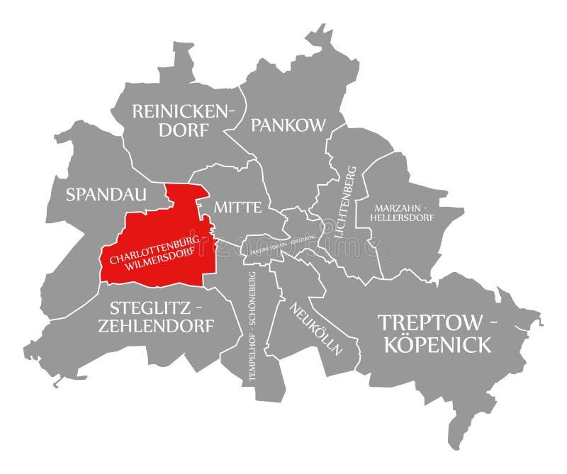 O vermelho do distrito da cidade de Charlottenburg-Wilmersdorf destacou no mapa de Berlin Germany ilustração stock