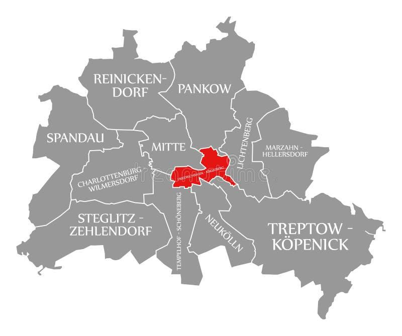O vermelho do distrito da cidade de Friedrichshain-Kreuzberg destacou no mapa de Berlin Germany ilustração do vetor