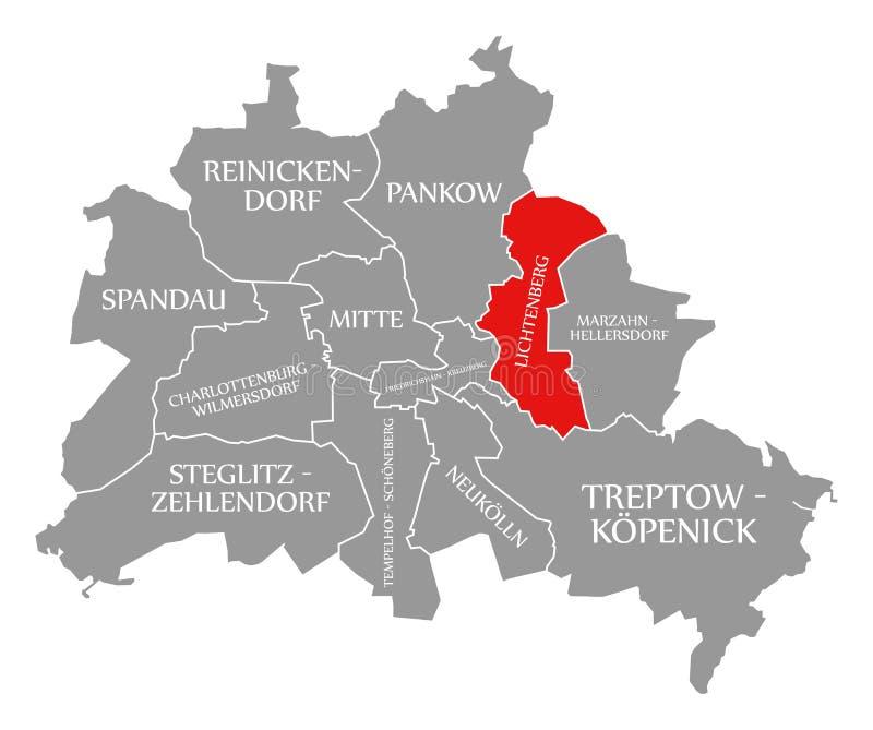 O vermelho do distrito da cidade de Lichtenberg destacou no mapa de Berlin Germany ilustração royalty free
