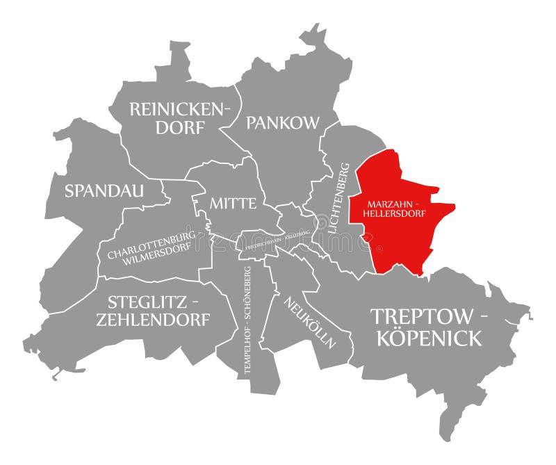 O vermelho do distrito da cidade de Marzahn-Hellersdorf destacou no mapa de Berlin Germany ilustração do vetor