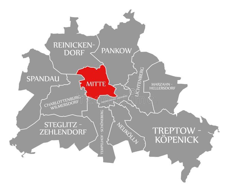 O vermelho do distrito da cidade de Mitte destacou no mapa de Berlin Germany ilustração stock