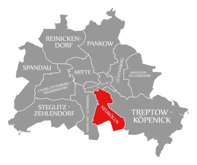 O vermelho do distrito da cidade de Neukoelln destacou no mapa de Berlin Germany ilustração royalty free