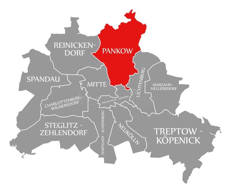 O vermelho do distrito da cidade de Pankow destacou no mapa de Berlin Germany ilustração royalty free