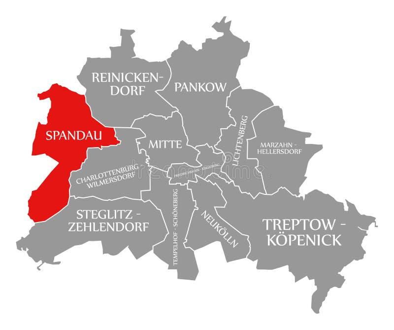 O vermelho do distrito da cidade de Spandau destacou no mapa de Berlin Germany ilustração royalty free