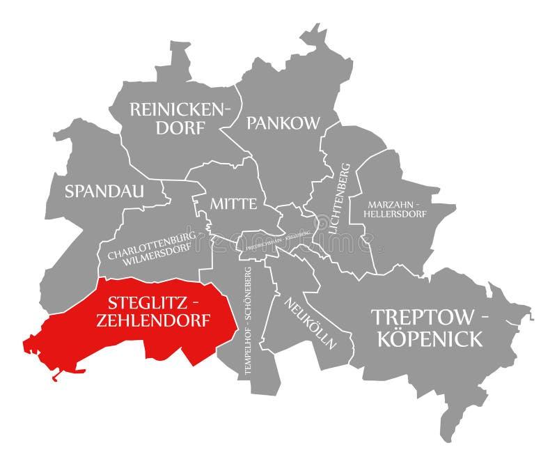 O vermelho do distrito da cidade de Steglitz-Zehlendorf destacou no mapa de Berlin Germany ilustração royalty free