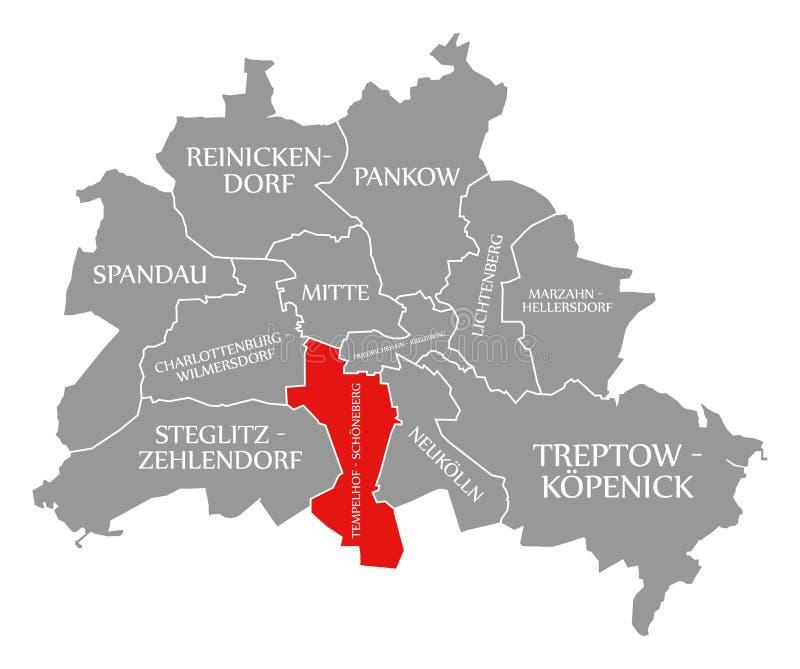 O vermelho do distrito da cidade de Tempelhof-Schoeneberg destacou no mapa de Berlin Germany ilustração do vetor