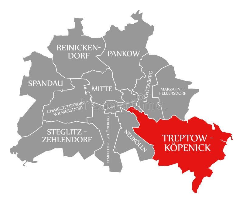 O vermelho do distrito da cidade de Treptow-Koepenick destacou no mapa de Berlin Germany ilustração stock