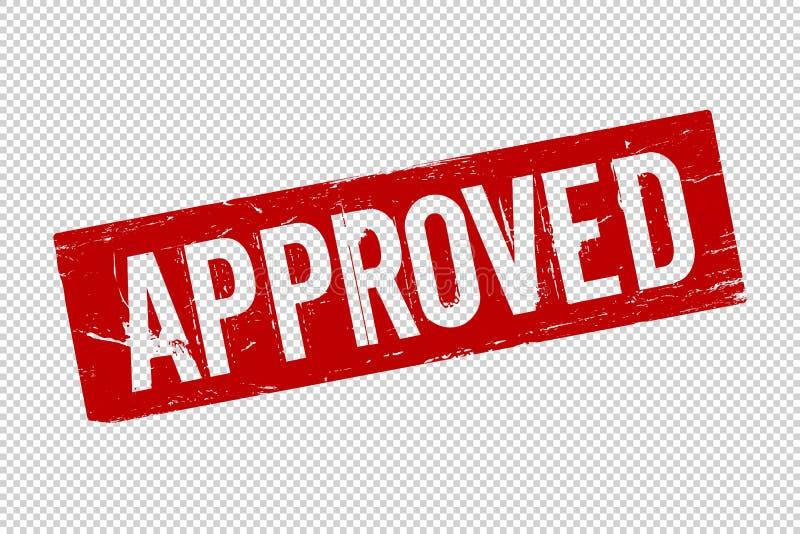 O vermelho do Grunge aprovou o selo de borracha quadrado do selo ilustração royalty free