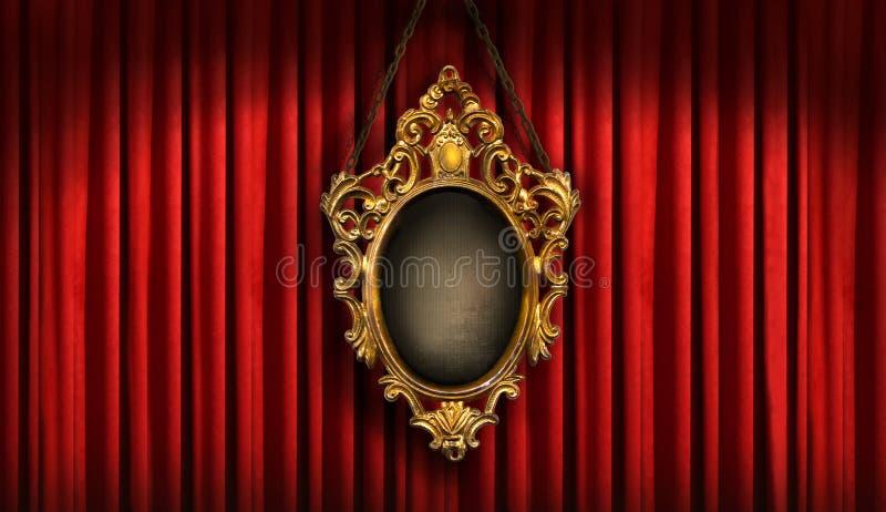 O vermelho drapeja com frame velho foto de stock royalty free