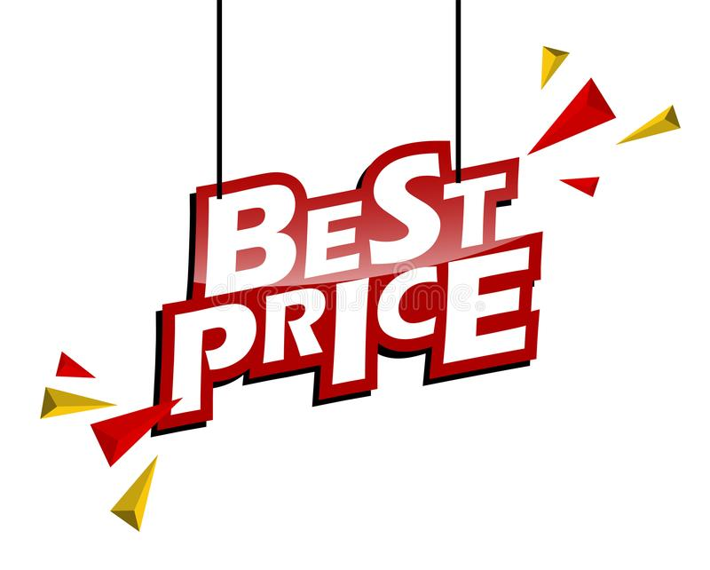 O vermelho e o amarelo etiquetam o melhor preço fotografia de stock royalty free