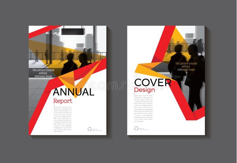 O vermelho e o amarelo projetam o folheto moderno do sumário da tampa da capa do livro ilustração royalty free