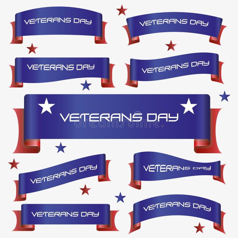 O vermelho e o azul curvaram as bandeiras eps10 da fita do dia de veteranos ilustração stock