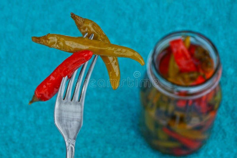 O vermelho e o verde enlataram pimentas em uma forquilha do ferro imagem de stock royalty free