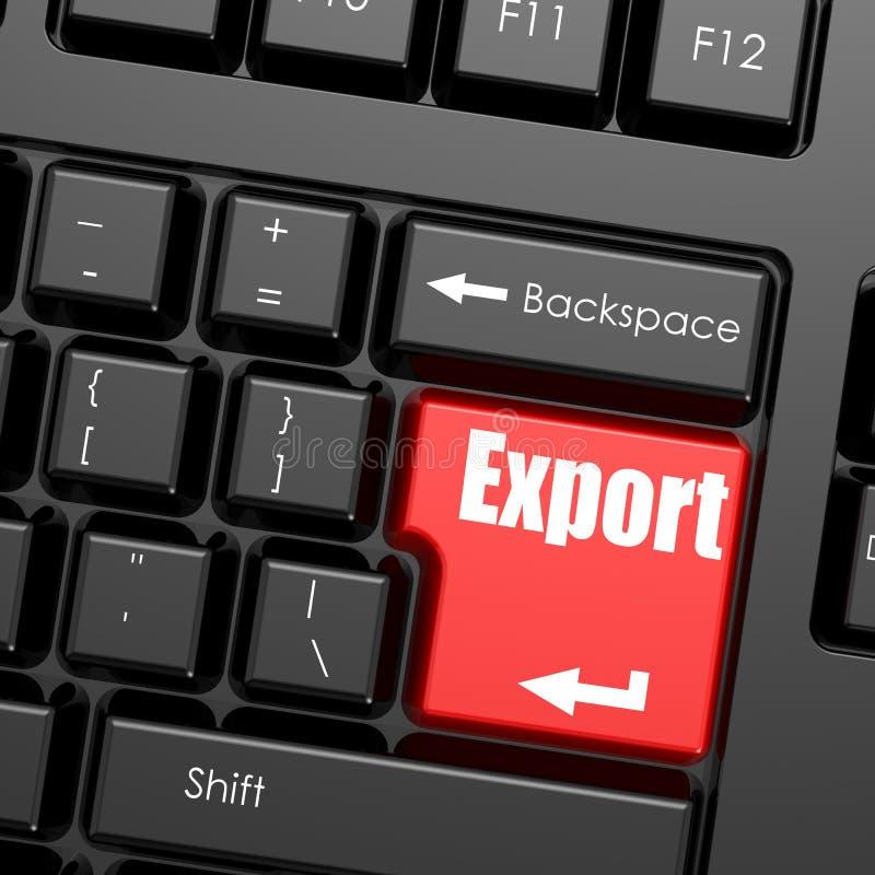 O vermelho entra no botão no teclado de computador, palavra da exportação ilustração do vetor