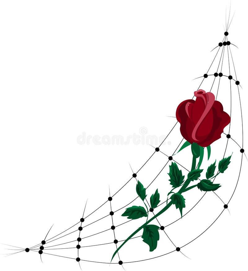 O vermelho estilizado levantou-se Isolado no fundo branco ilustração royalty free