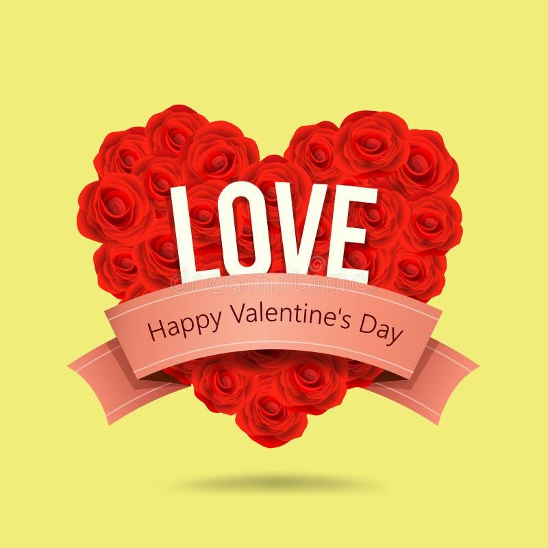 O vermelho feliz do dia de Valentim aumentou forma do coração e projeto cor-de-rosa da fita ilustração royalty free