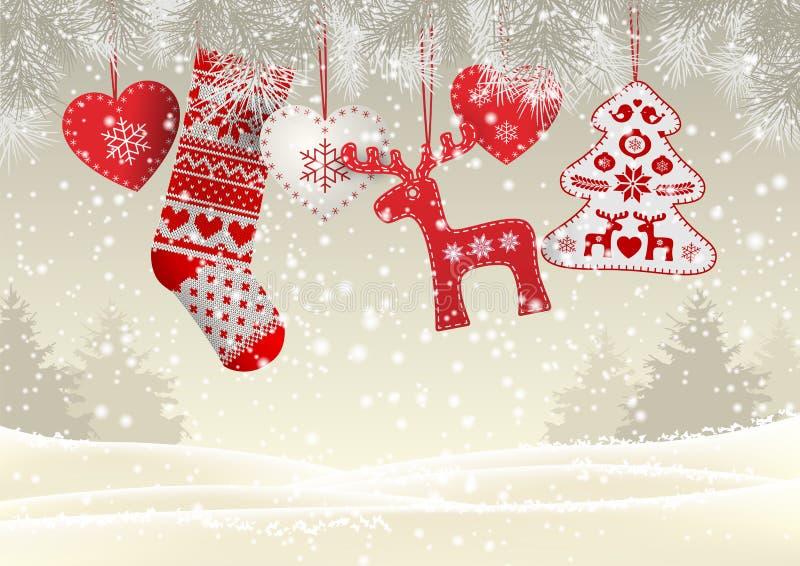 O vermelho fez malha a meia do Natal com algumas decorações tradicionais escandinavas que penduram em ramos na frente de simples ilustração do vetor