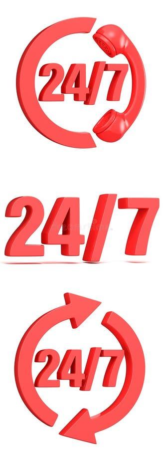 O vermelho 24 horas assina 7 dias por semana 3d ilustração stock
