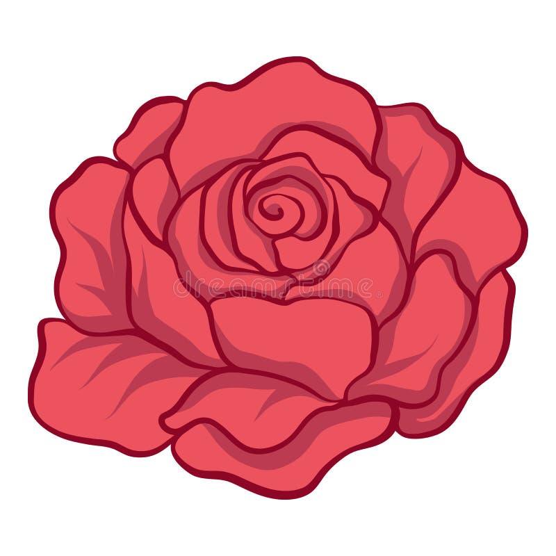 O vermelho isolado levantou-se Ilustração conservada em estoque do vetor ilustração stock