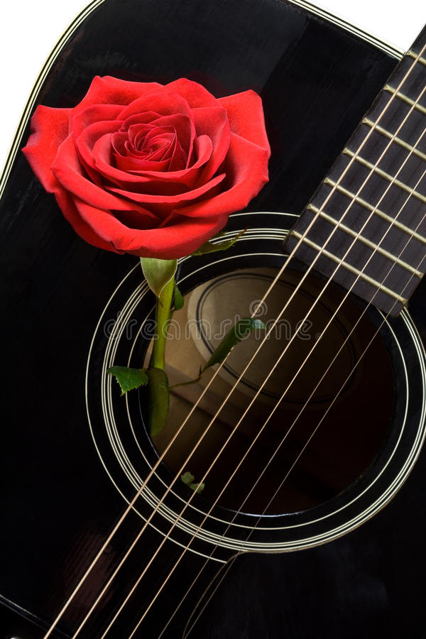 O vermelho levantou-se dentro da guitarra acústica preta velha foto de stock