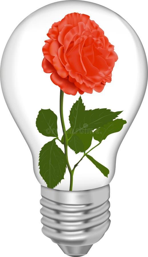 O vermelho levantou-se em um bulbo ilustração do vetor