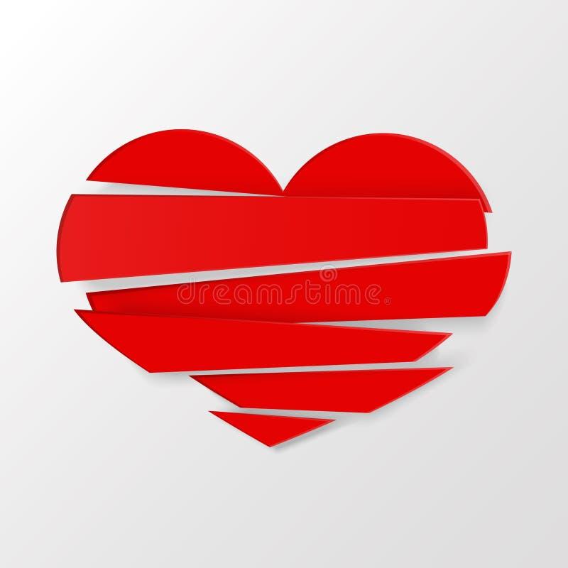 O vermelho listra o vetor do coração quebrado no fundo branco Poderiam ser nós ilustração stock