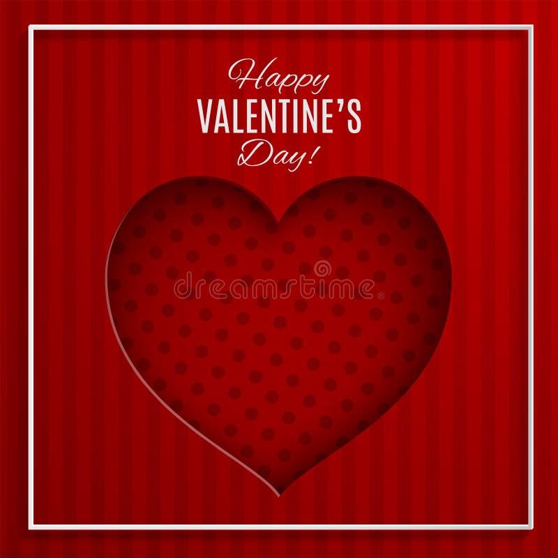 O vermelho pontilhou a ilustração do vetor do coração no fundo listrado vermelho com quadro para o cartão do dia de Valentim ilustração do vetor