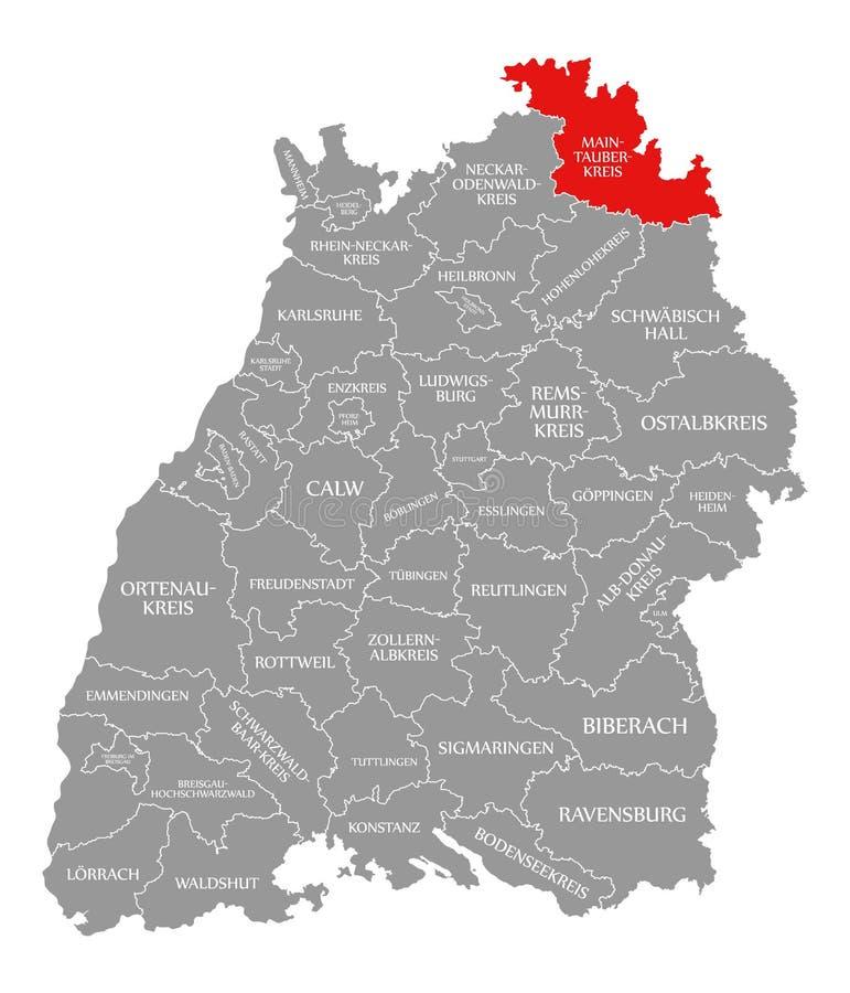 O vermelho principal-Tauber-Kreis do condado destacou no mapa de Baden Wuerttemberg Germany ilustração do vetor