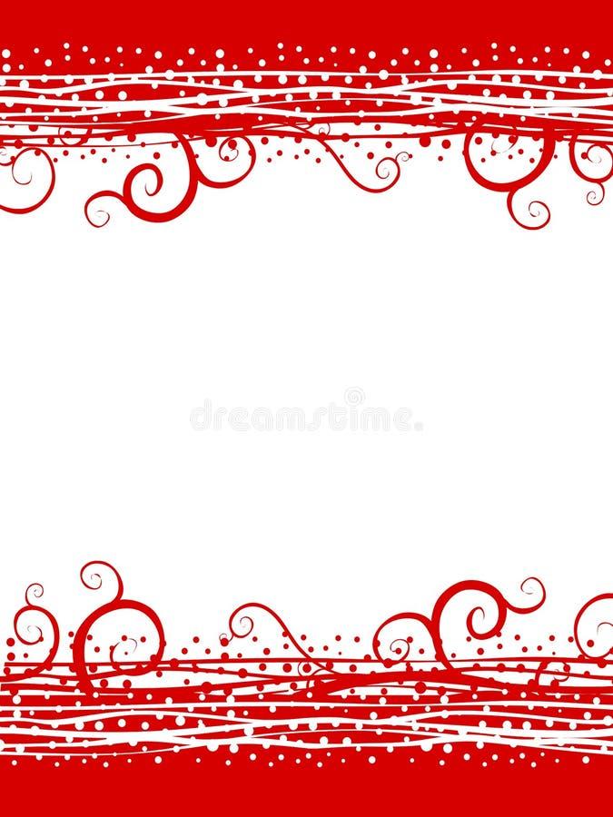 O vermelho roda beira do Natal da neve ilustração do vetor