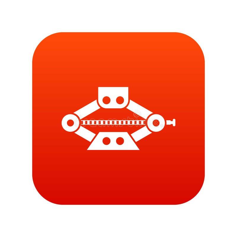 O vermelho scissor o vermelho digital do ícone do jaque do carro ilustração do vetor