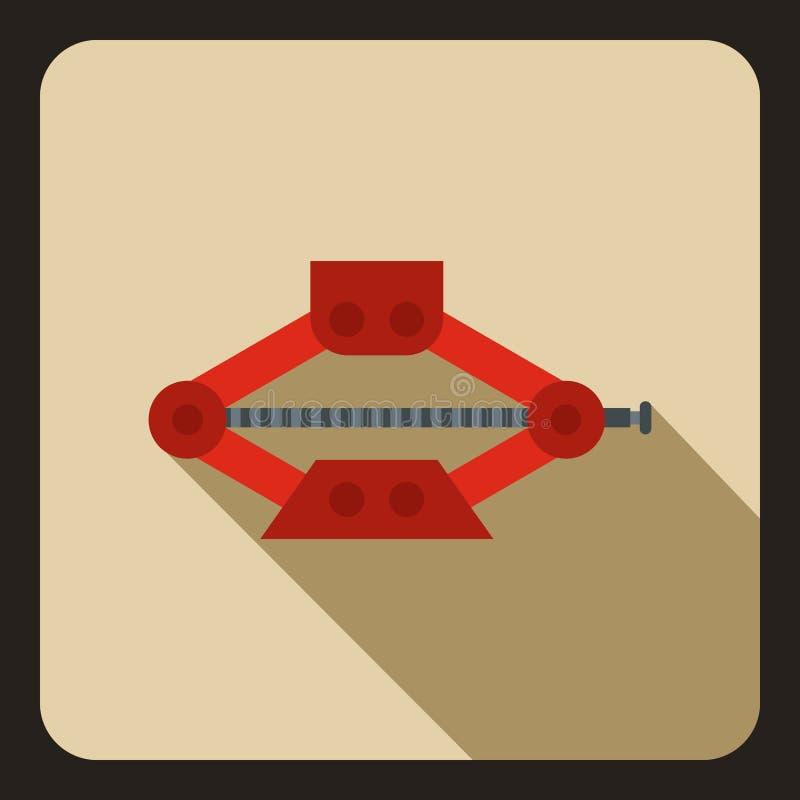 O vermelho scissor o ícone do jaque do carro, estilo liso ilustração royalty free