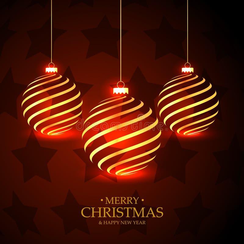 O vermelho stars o fundo com suspensão de bolas douradas do Natal ilustração royalty free