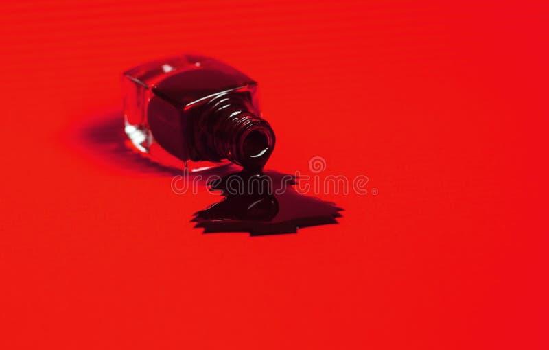 O verniz para as unhas escuro derramou a garrafa fundo vermelho vibrante foto de stock
