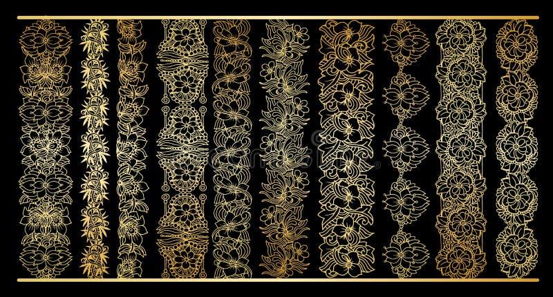 O vertical dourado limita a coleção Clipart real do ouro floral para o projeto do casamento ilustração do vetor