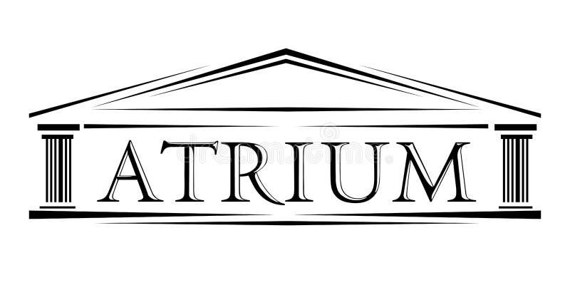 O vestíbulo cobriu o logotipo clássico do arco do pórtico ilustração stock