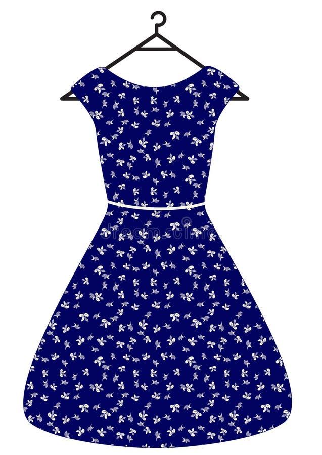 O vestido bonito do vintage azul com folhas e correia do branco, vector a ilustração lisa Isolado no branco ilustração stock