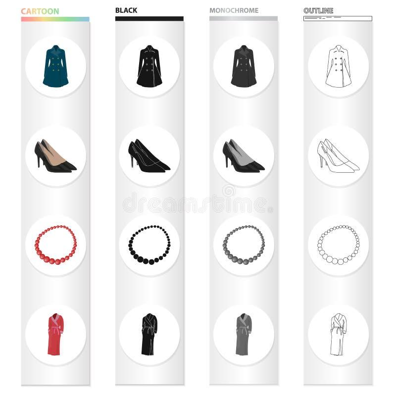 O vestido do ` s das mulheres, sapatas, grânulos, veste a veste morna A roupa e os acessórios do ` s das mulheres ajustaram ícone ilustração royalty free