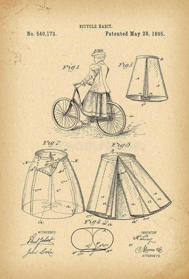 O vestido gótico do fato da história da bicicleta do estilo da forma do victorian do Velocipede de 1895 patentes veste a saia do  ilustração stock