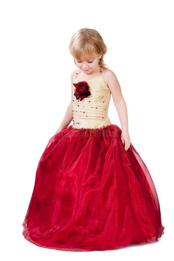 O vestido lindo da menina elegante isolou-se foto de stock