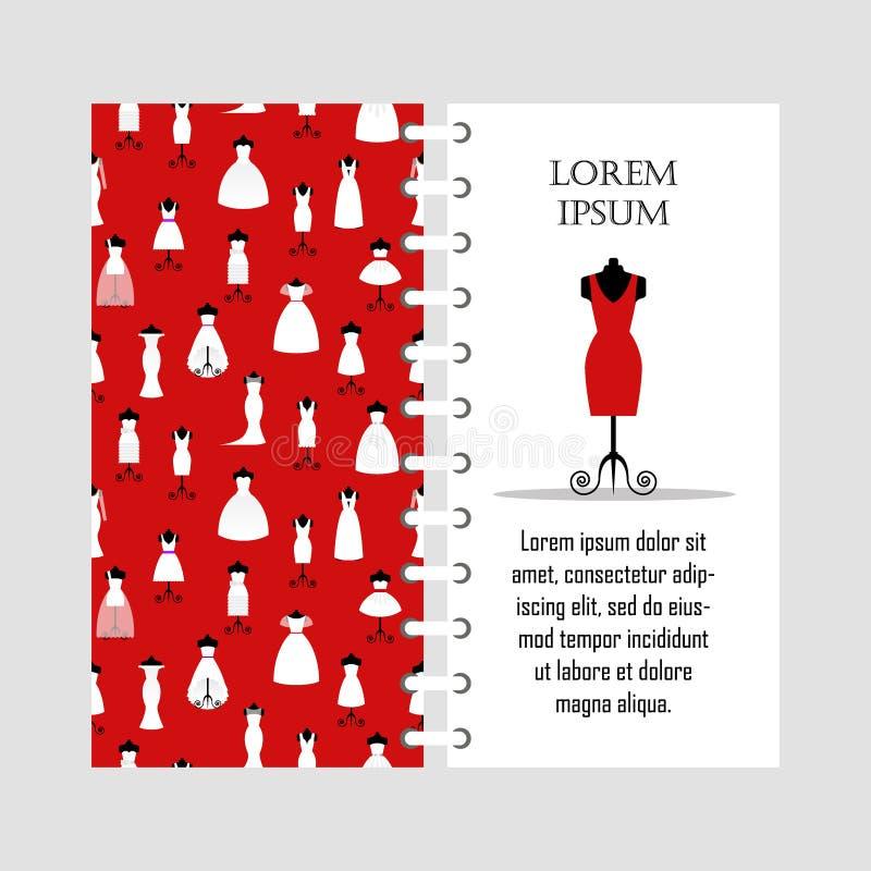 O vestido vermelho da mulher do molde do vetor no manequim, coleção do branco diferente veste o teste padrão sem emenda, forma da ilustração do vetor