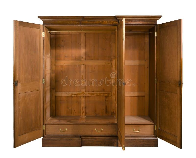 O vestuário antigo do quarto do vintage abre de madeira fotos de stock royalty free