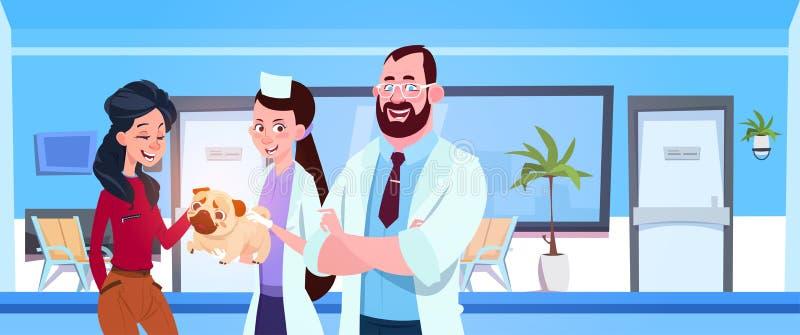 O veterinário medica o proprietário feliz de Giving Saudável Cão no conceito da medicina veterinária do escritório da clínica ilustração do vetor