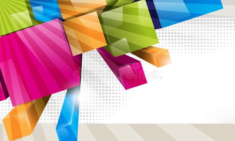 O vetor 3d colorido obstrui o fundo ilustração stock