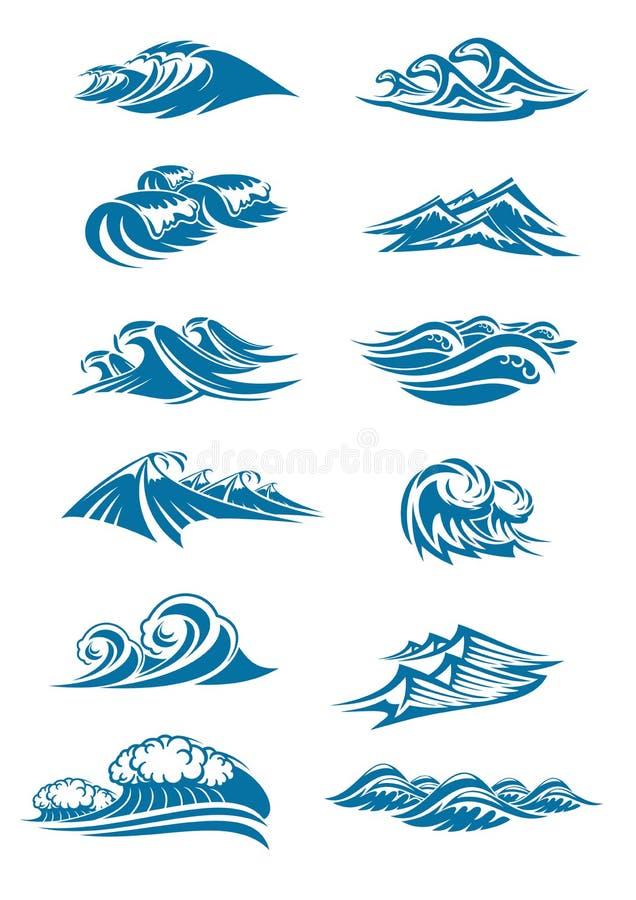 O vetor acena ícones de ocen o respingo azul da onda de água ilustração royalty free