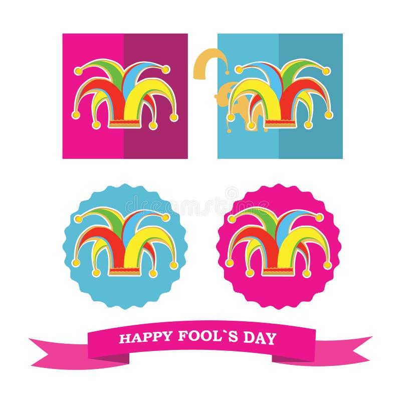 O vetor ajustado da silhueta colorida clowns chapéu ilustração stock